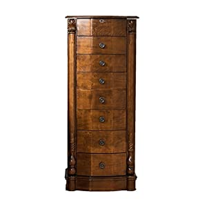 Hives & Honey 9006-981 Antoinette Wood Jewelry Cabinet Armoire Box Storage Chest Stand Organizer Neckla, 37.75in X 16in X 10.75in, Brown
