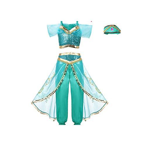 Girls Unicorn Tutu Dress Princess Rapunzel Superhero Vampirina Cosplay Party Wear,Jasmine ZT1201,ZT -