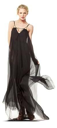 Crinkled Silk Chiffon Long Dress Crinkled Silk Chiffon Long Dress BLACK, M