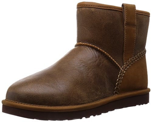 UGG Men's Classic Mini Stitch Chestnut Leather Boot 8 D (M) (Ugg Boots Classic Mens Short)