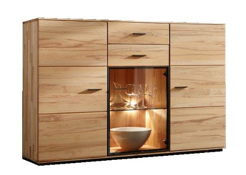 SIT-Möbel 4402-01 Highboard 3 Türen, 3 Schubladen mit Softcloser und Dämpfung, 166 x 45 x 111 cm