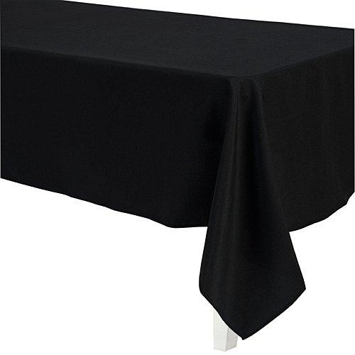 (LinenTablecloth 60 x 126-Inch Rectangular Polyester Tablecloth Black)