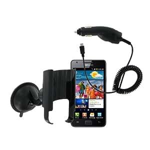 Kit - Soporte de coche con ventosa y cargador para Samsung Galaxy S 2, color negro