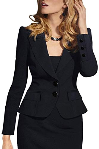 Fit Giubbino Ufficio Stile Di Primaverile Cappotto Lunghe Autunno Eleganza Maniche Donna Eleganti Slim Business Nero Parigine V Button Blazer Mode neck Marca Outwear n7ACpwqz