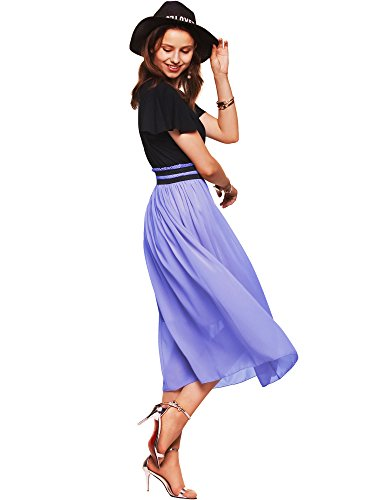 Amoretu Womens Empire Waist Summer Short Sleeve Casual Flared Midi Dress Lavender L -