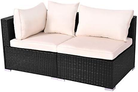 Tangkula Outdoor Wicker Furniture Set Infinitely Combination Cushion Wicker 1 Corner Sofa 1 armless Sofa