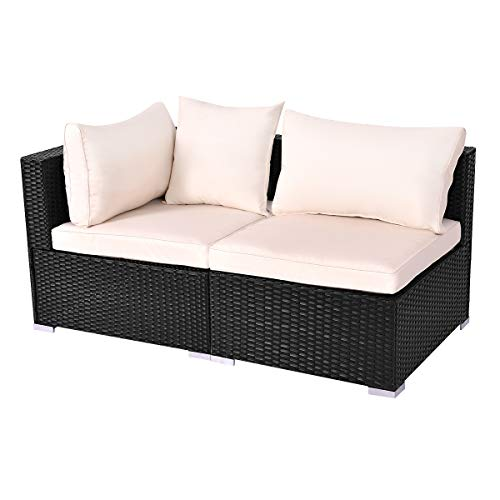 Tangkula Outdoor Wicker Furniture Set Infinitely Combination Cushion Wicker (1 Corner Sofa+ 1 armless - Resin Wicker Settee Outdoor