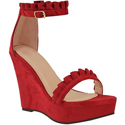Mode Assoiffé Femmes Talon Haut Talons Frange Cheville Sangle Plate-forme Sandales Été Taille Rouge Faux Suède