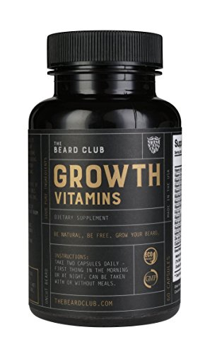 Beard Growth Vitamins | The Beard Club | #1 Selling Beard & Hair Growth Supplement in America | Get a Fuller and Thicker Beard ()