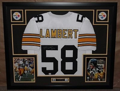 buy popular b91bc 0c5b2 Jack Lambert Autographed White Steelers Jersey - Beautifully ...