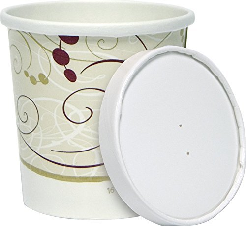 16 oz. Symphony Paper Soup and frozen dessert ice cream Container with Vented Flat Lid- keeps food hot/or cold - 25 sets - plus 5 clip on cup handles Container Flat Lid