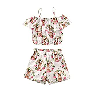 Fashion Kids Toddler Baby Girl Summer Outfits Sleeveless Tank Top T-Shirt+Denim Floral Shorts/Skirt Summer Clothes