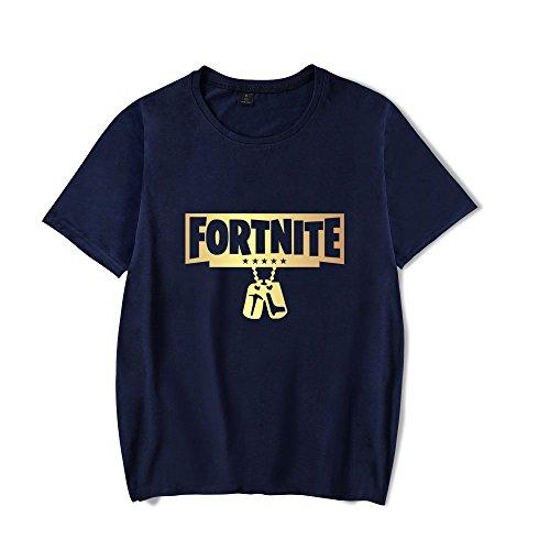 AILIENT Popolare Unisex Fortnite Amante Maglietta Stampate Manica Corta Camicie Girocollo T-Shirts Estive Bluse Classico Superiori Dark Blue3