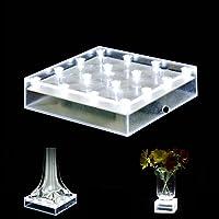 Acmee - Base cuadrada de jarrón de acrílico con luz LED, luz de placa con 16 LED para jarrón de la torre Eiffel, decoración de centro de mesa, base de LED, con batería /Cable USB 2 funciones (luz blanca)