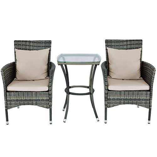 Adumly Set of 3 PCS Gray Outdoor Patio Rattan Wicker Furniture Set Chair Coffee Table Cushions