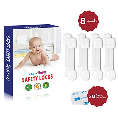 Eco-Baby Child Safety Cabinet Locks,Drawers, Oven, Toilet Seat, Fridge and More | Multi-Purpose Use | No Tools Required | Super Strong 3M Adhesive with Adjustable Strap and Latch System (8-Pack)