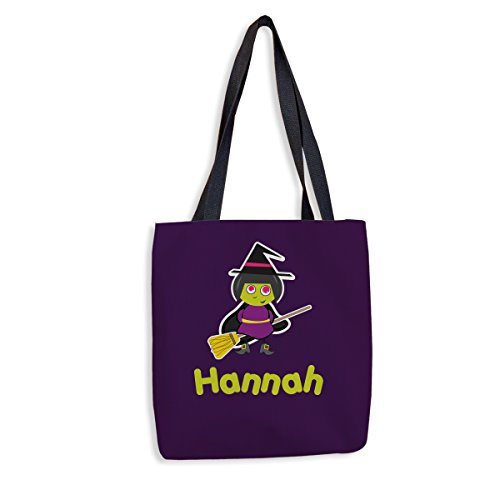 Broomstick Witch Personalized Halloween Treat Bag | Custom Trick-Or-Treat Tote | Custom Printed Halloween Tote for Kids (Halloween Broomstick Treat Bags)
