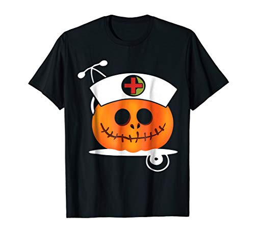 Women Pumpkin Scrub Halloween Gift Shirt For Nurse -
