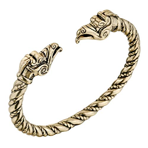 AILUOR Men's Double Head Dragon Bracelet, Norse Viking Adjustable Stainless Steel Gold Sliver Cuff Cool Polished Twisted Arm Ring Cable Bangles Pagan Jewelry (Gold-3)