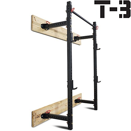 "Titan Fitness T-3 Series Fold Back Power Rack 21.5"" Deep Wall Mounted"