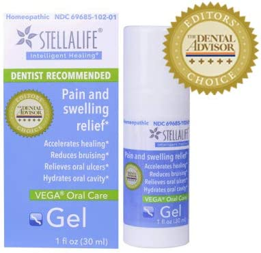 StellaLife Vega Oral Gel: Dry Socket, Tooth Extraction, Sore Gums, Canker Sore, Oral Surgery, Braces, Denture, Ulcer, Mucositis, Dental Implant, Advanced Natural Dental Pain Relief, Mint, Healing