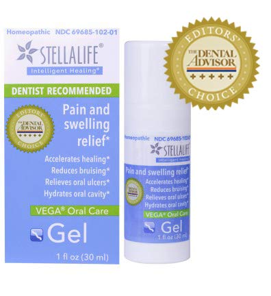 - StellaLife VEGA Oral Gel: Dry Socket, Dry Mouth, Teeth Extraction, Gum Surgery, Canker Sore, Braces, Denture, Ulcer, Mucositis, Dental Implant, Advanced Natural Dental Pain Relief, Heal Faster, Mint