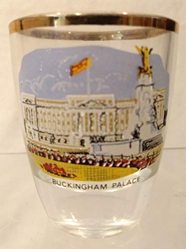 (BUCKINGHAM PALACE Shot Glass, British Tradition Shot Glass, Golden Trim Shot Glass, London Souvenir Shot Glass, Royal Family Souvenir Shot Glass)