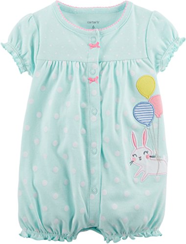 Carter's Baby Girls' Snap-up Cotton Romper (6 Months, Turquoise/Bunny)