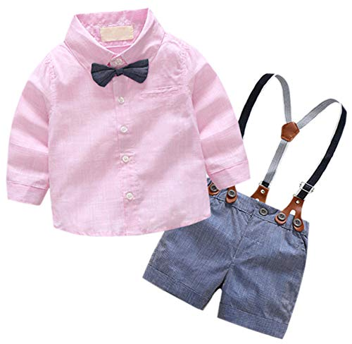 Baby Boys Dress Clothes, Toddlers Long Sleeves Button Down Dress Shirt with Bowtie + Suspender Shorts Set Summer Gentlemen Outfit, Pink, 6-12 Months/Tag 80