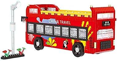 Balody Panda Travel Double-decker Bus DIY Diamond Mini Building Nano Blocks Toy