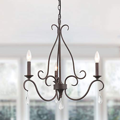 LALUZ Rustic French Country Chandelier 3 Lights Candle Iron Pendant with Crystal Droplets for Dining, Living Room,Kitchen, Bedroom, A03505 ()