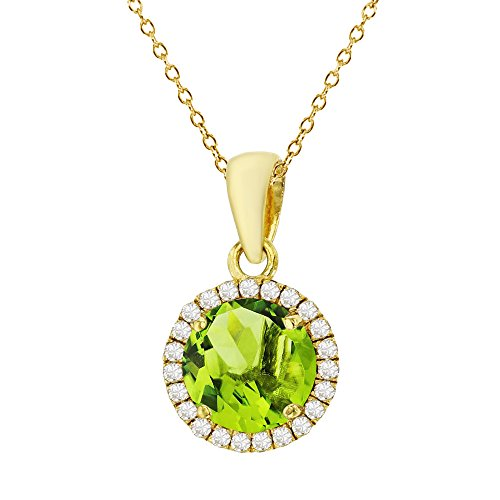 Sterling Silver Yellow 7mm Round Peridot & Cr White Sapphire Halo 18