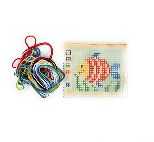 My First Embroidery Rainbow Fish Red Yellow Green Blue White Needlepoint Kit 11cm x 13cm ()