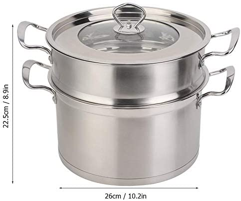 41kcljA8IwL. AC Zerone Steamer Pot,26CM Stainless Steel Double Layer Food Steamer Pot Stockpot Cookware Household Cooking Tool    Specification: Condition: 100% Brand New Product material: 201 stainless steel Product specifications: 26cm Pot bottom type: composite bottom Product Type: Steamer, stockpot Product size: about 26 * 26 * 22.5cm / 10.2 * 10.2 * 8.9in Product features: steamed, boiled, braised, etc.