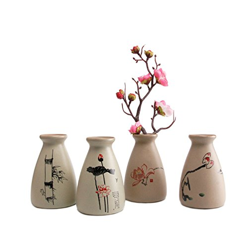 T4U Small Ceramic Flower Bud Vase Ancient Style Home Decor Pack of 4 (Chinese Large Vase)
