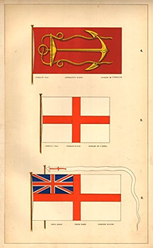 BRITISH NAVAL FLAGS. Admiralty Flag; Admiral's Flag; White Ensign. HOUNSELL - 1873 - old print - antique print - vintage print - printed prints of UK