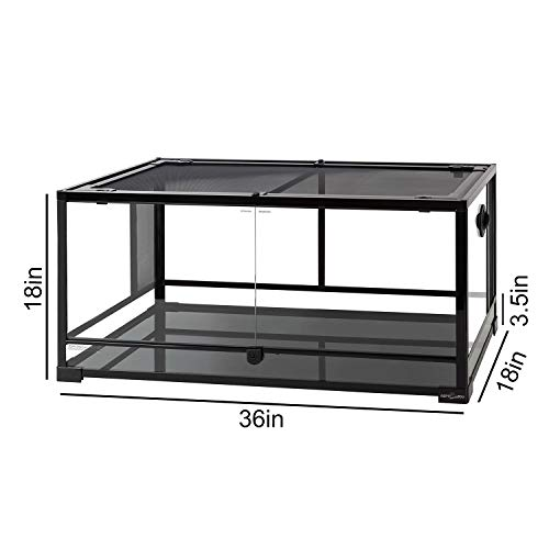 "REPTI ZOO Reptile Glass Terrarium Tank Double Hinge Door with Screen Ventilation Large Reptile Terrarium 36"" x 18"" x 18""(Knock-Down)"