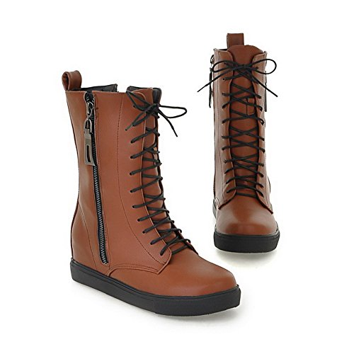 Hollow Low Material PU Out Soft M with Solid 4 Zipper AmoonyFashion B US Boots Heels Short Womens 5 Brown Plush and 5xqwtP1