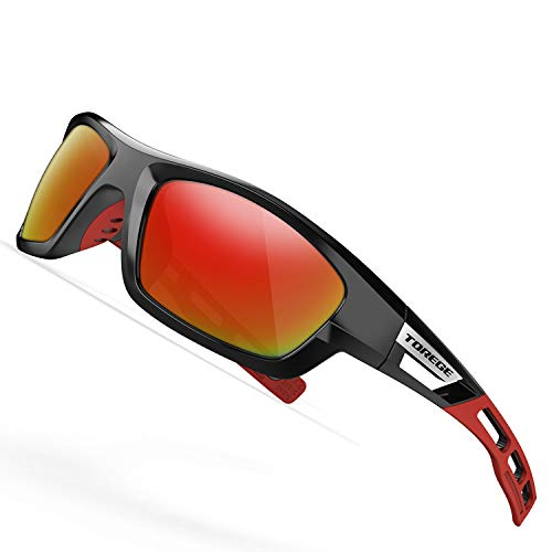 TOREGE Polarized Sports Sunglasses for Man Women Cycling Running Fishing Golf TR90 Unbreakable Frame TR07 Steath Man (Black&Red&Rainbow ()