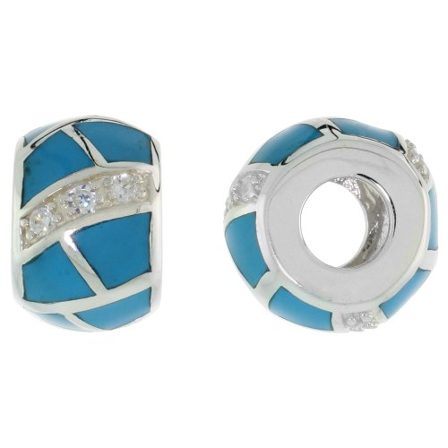 Sterling Silver Reconstituted Turquoise Barrel Charm Bead CZ stones Fits Pandora and all Charm Bracelets, 3/8 inch (Silver Charm Turquoise Sterling)