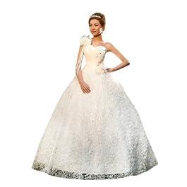 Dearta Women's Ball Gown One-Shoulder Floor-Length Wedding Dress UK 20 White