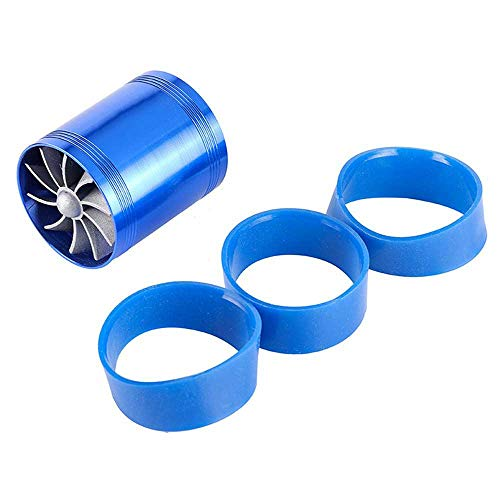 FOONEE Automotive Double-Sided Turbine, Turbine Air Intake Fuel Gas Saver Dual Fan Acceleration System, Turbocharger Power Conversion Accessories - Blue