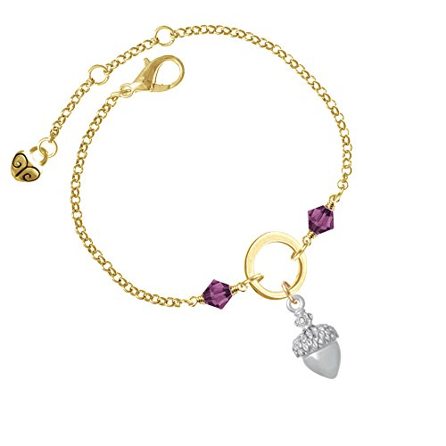 Small Acorn with Crystals Purple Bicone Gold Tone Karma Ring Bracelet