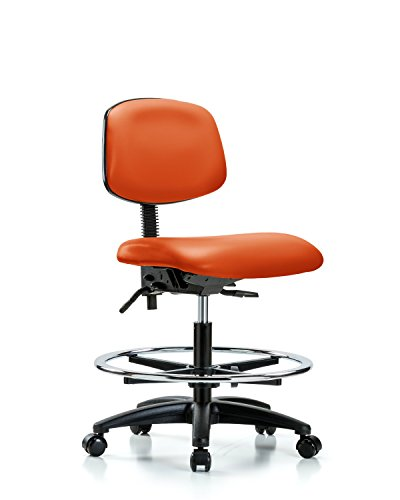 Ergonomic Chair for Medical Offices, Labs, and Dentists with Wheels – Bench Height, Orange