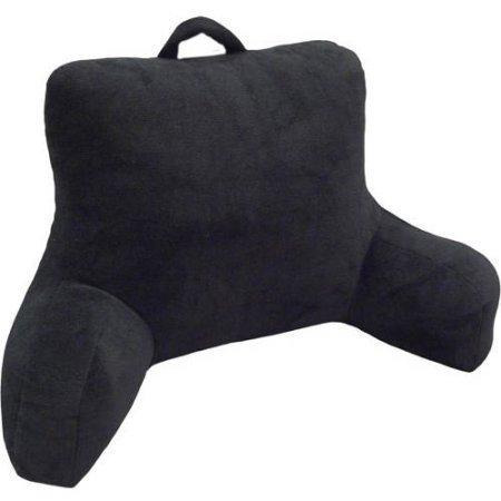 Black Micro Mink Super Soft Plush Reading Pillow Bedrest by Mainstays, 2 Pieces