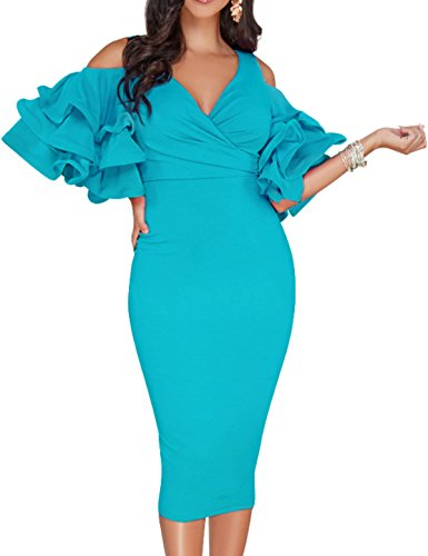 CXINS Women Sexy V Neck Cold Shoulder Ruffle Sleeve Slim Fit Bodycon Cocktail Party Midi Dress Size S Peacock (Peacock Party Dress)