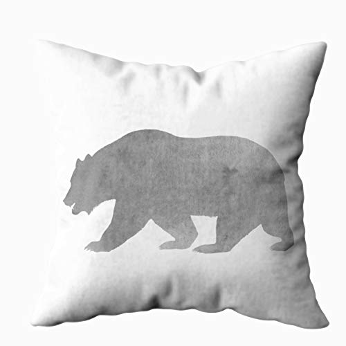 Shorping Zippered Pillow Covers Pillowcases 20X20 Inch gray bear watercolor alaska woodland Decorative Throw Pillow Cover,Pillow Cases Cushion Cover for Home Sofa -