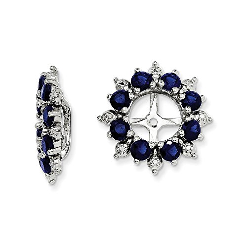 Mia Diamonds 925 Sterling Silver (.007cttw) Diamond and Simulated Sapphire Earring Jacket (15mm x 15mm) by Mia Diamonds and Co.