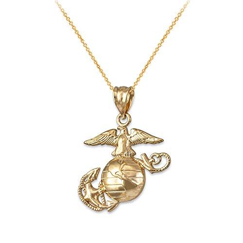 LA BLINGZ 14K Yellow Gold US Marine Corps Necklace (22.0) ()