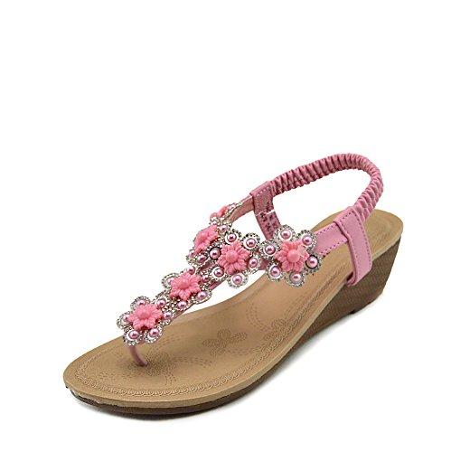 Vacanza Scarpe Rosa Donna Footwear Estate Tacco Sandali Bassa la Kick con Zeppa Comfort Medio 7OgPqw